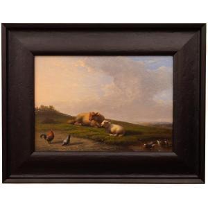 Mouton Se Reposant Dans Une Prairie Par François (frans) Van Severdonck, 1861