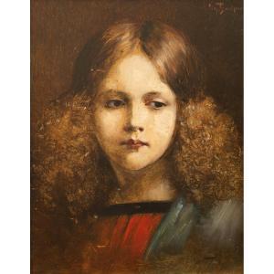 Portrait d'Une Jeune Fille Par Georg Büchner (1858-1914, Allemagne), Signé, Huile