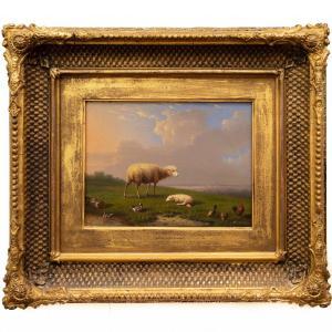 Moutons Et Volailles Paissant Dans Un Paysage De Franz (françois) Van Severdonck