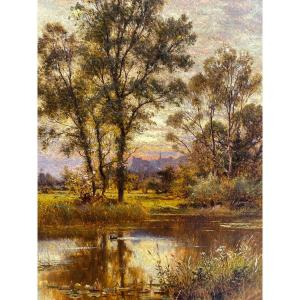 Un Ruisseau Calme Par Alfred Augustus Glendening Senior, Château d'Arundel, West Sussex