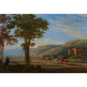 Paysage Avec Cavaliers, Ecole Hollandaise Du XVIIe Siècle, Chevaux