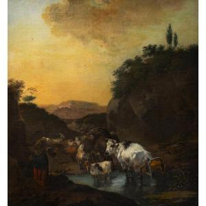 Attribué Jan Frans Soolmaker -Berger avec des moutons, des vaches et une chèvre dans un paysage
