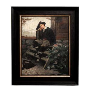 Le Jeune Musicien De Rue Par Clara Löfgren, 1879, Huile Sur Panneau, Signée