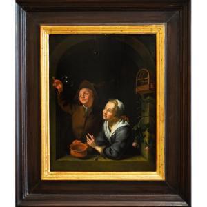 Un Jeune Couple Soufflant Des Bulles à Une Fenêtre, Entourage De Louis De Moni