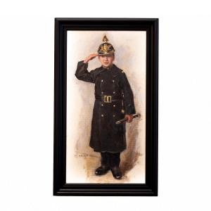 The Young Policeman By Carl Hedelin, Oil On Canvas, Signed, 19th Century