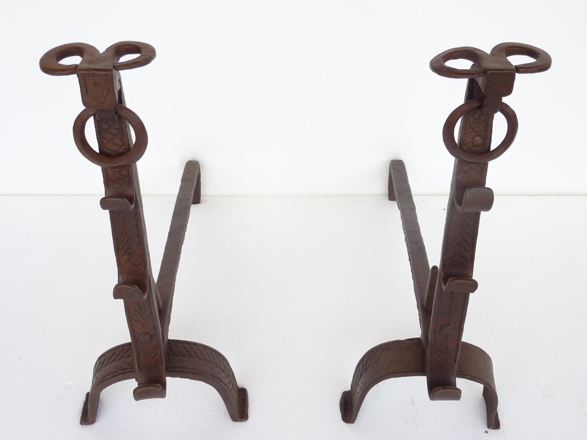 Pair Of Andirons Seventeenth S. For Heads Of Aries