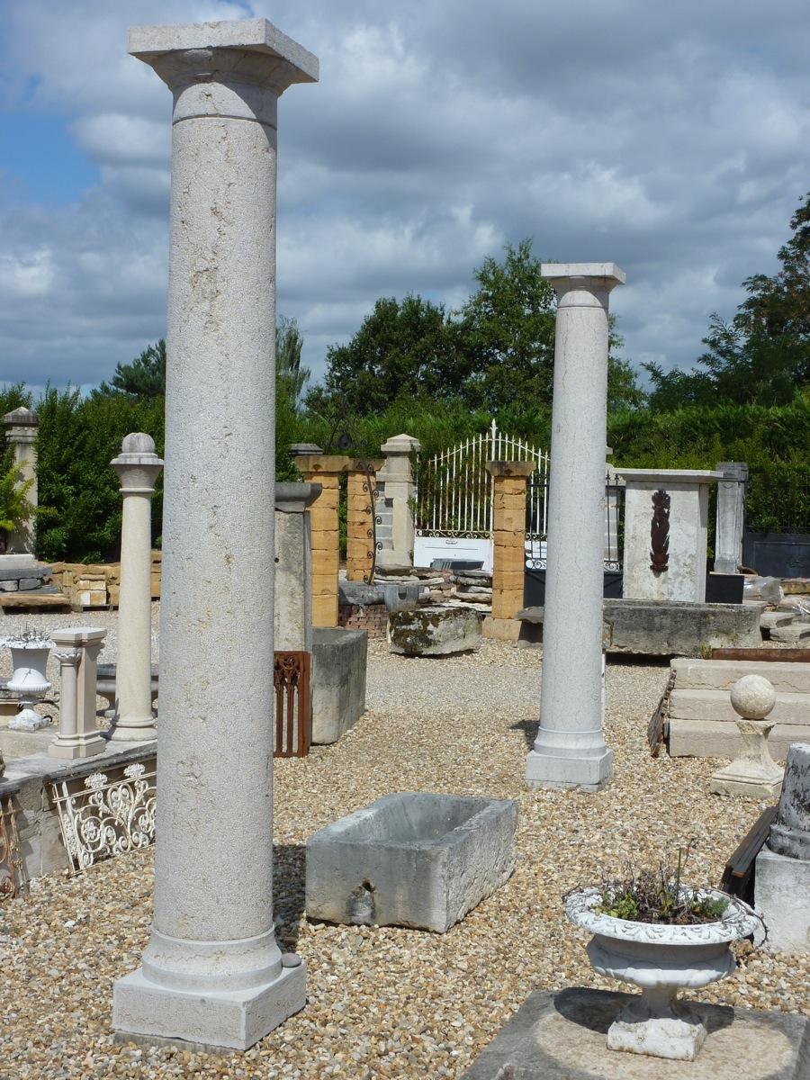 Paire de colonne en pierre dure datant du XIXéme siècle