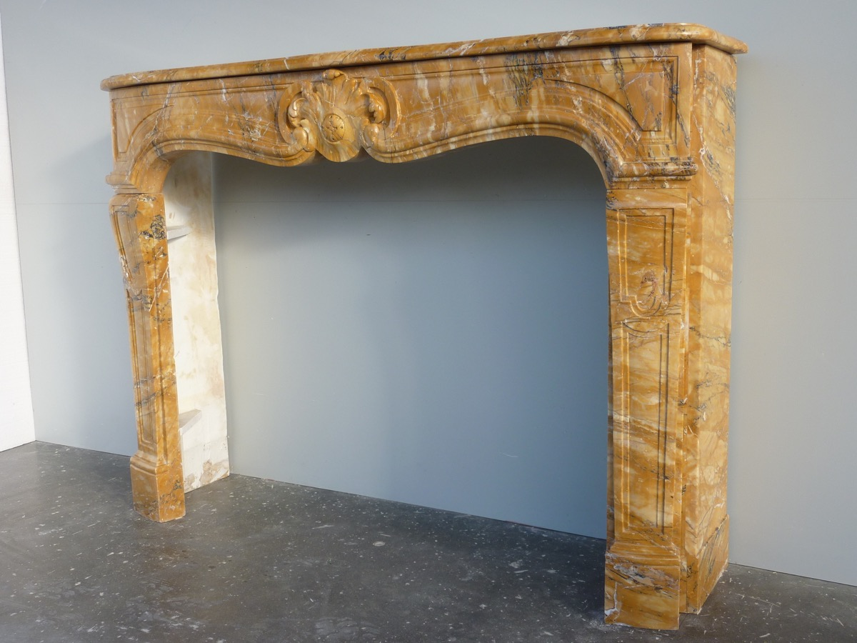 Fireplace In Yellow Maber Of Siena Louis XV-photo-3