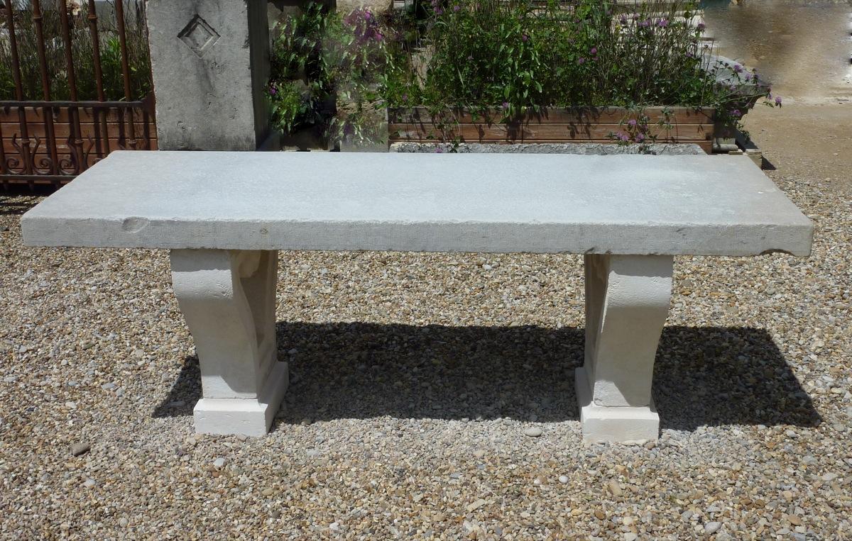table en pierre de parc pied lyre antiquit s du jardin fontaines. Black Bedroom Furniture Sets. Home Design Ideas
