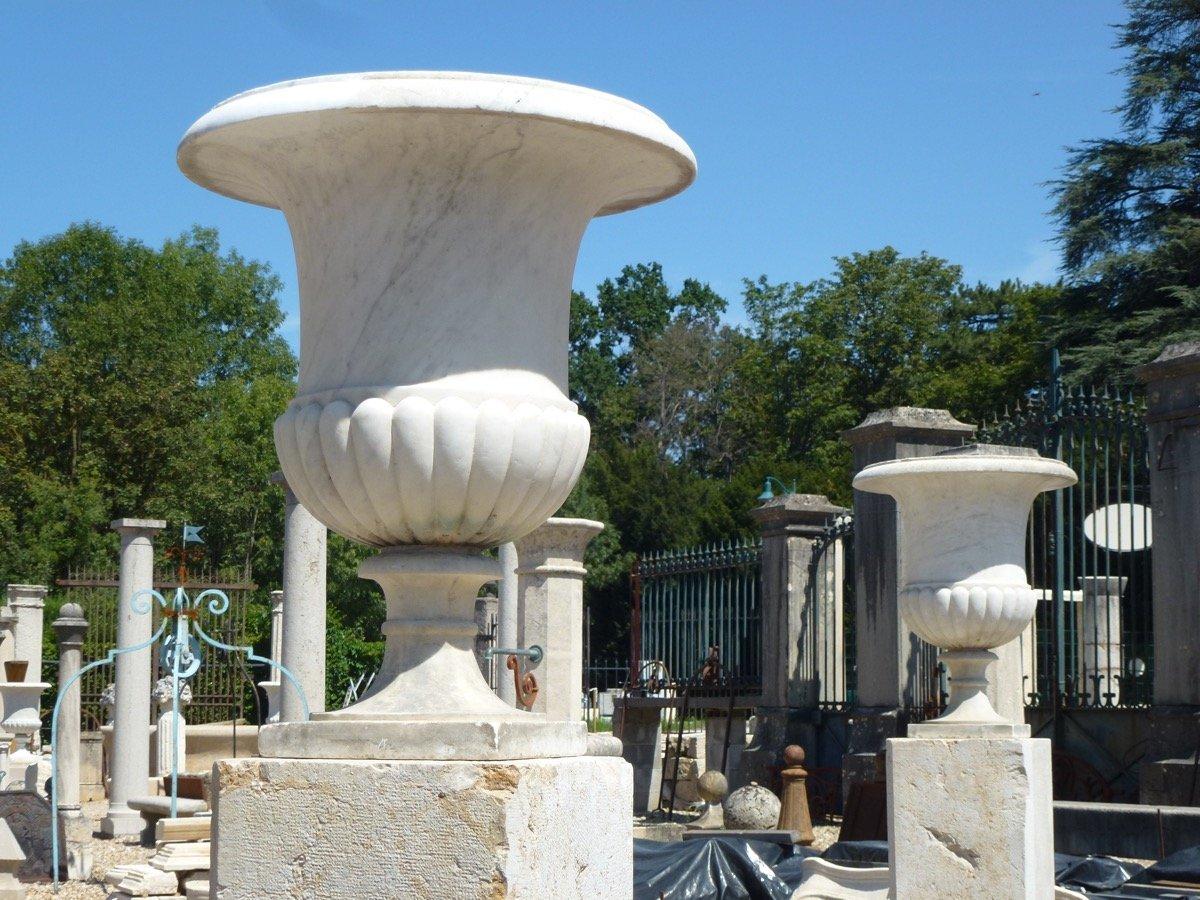 Large Pair Of Marble Vases