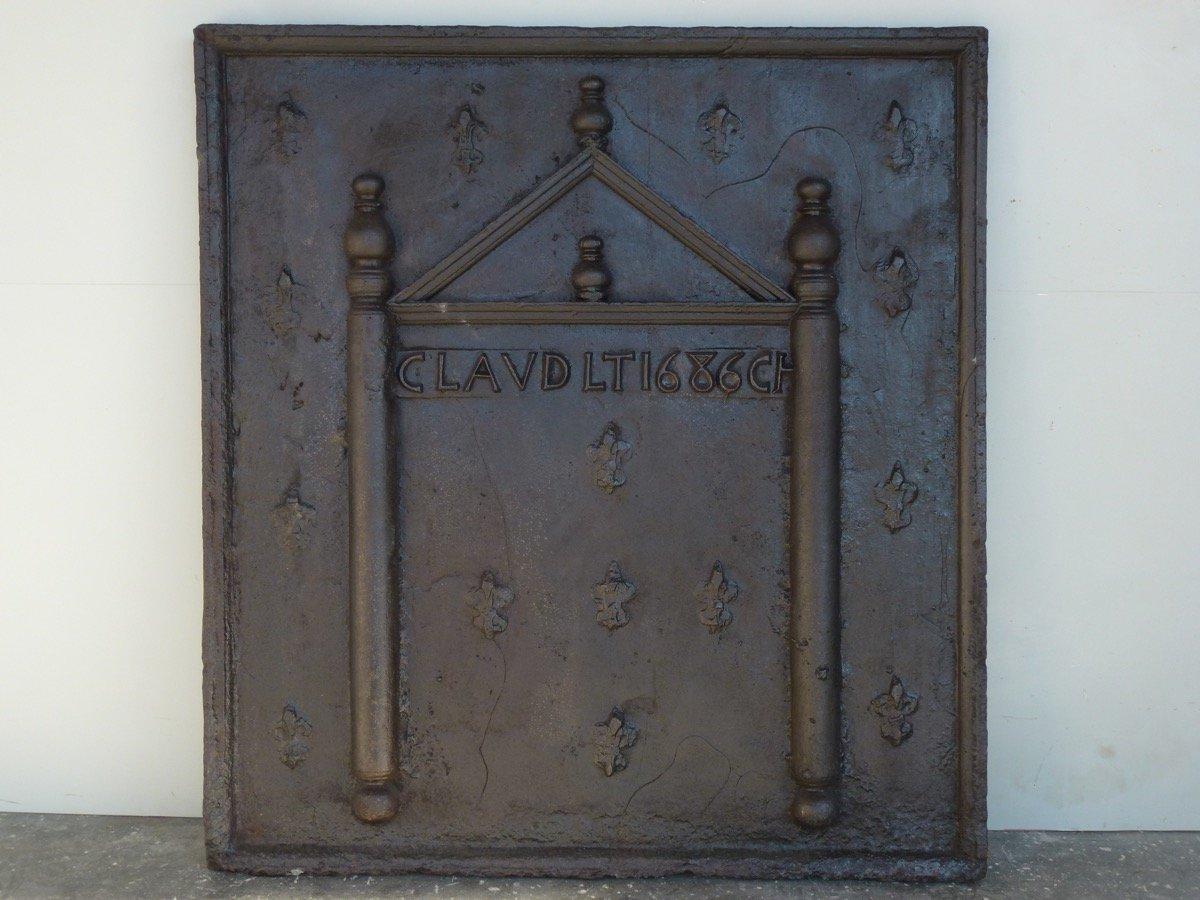 Grande plaque de cheminée d'époque XVIIéme S.   ( 103 x 112 cm )
