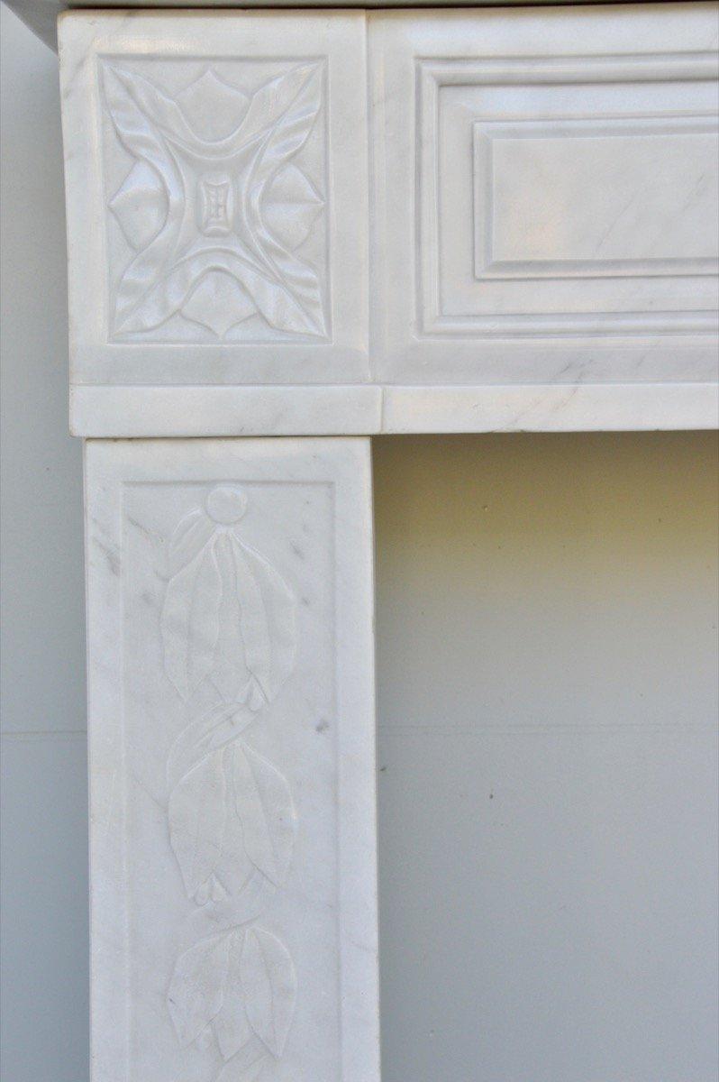 Cheminée marbre blanc d'époque Louis XVI-photo-1