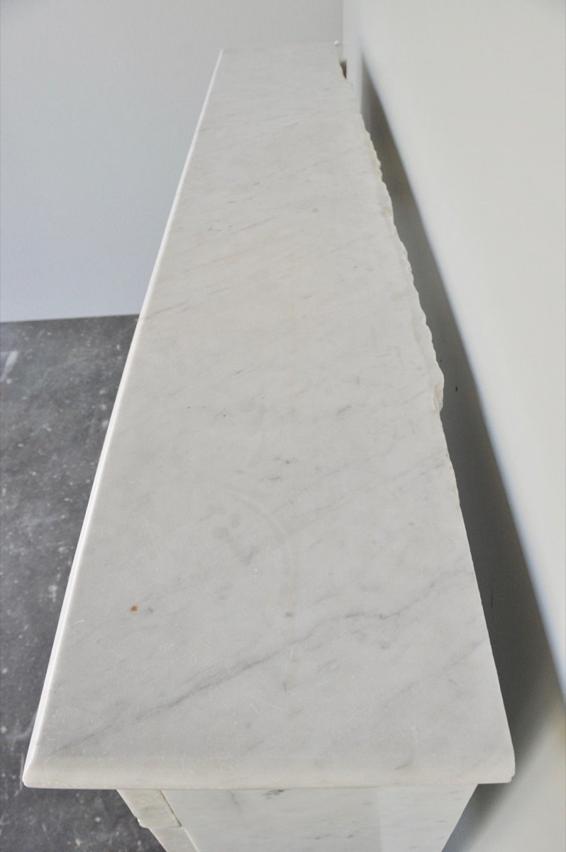 Cheminée marbre blanc d'époque Louis XVI-photo-4