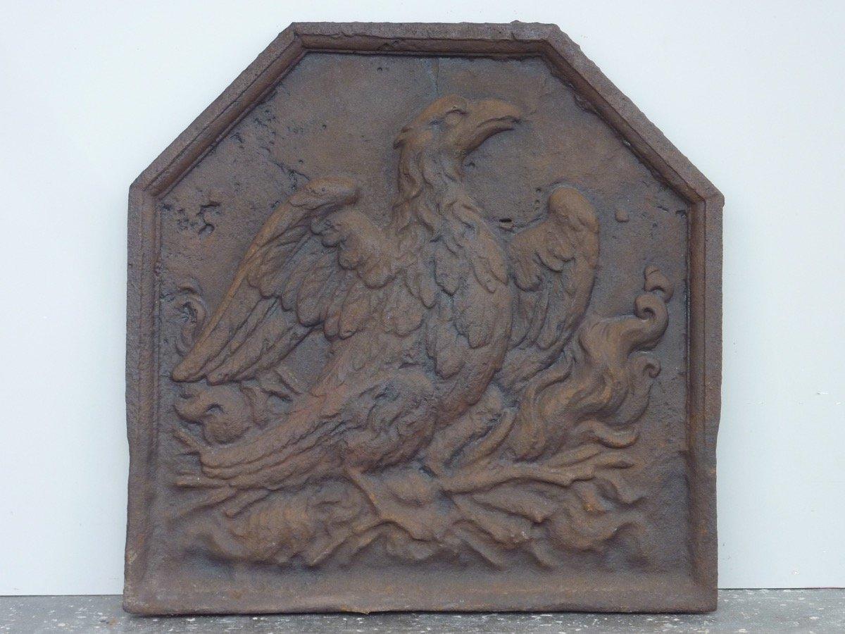 Plaque de cheminée au Phoenix d'époque XVIIéme S.  (55 x 55 cm)