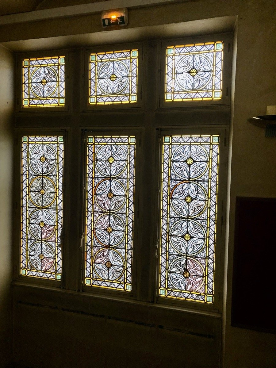 Neogothic Stained Glass Windows Painted In Grisaille XIXth S.