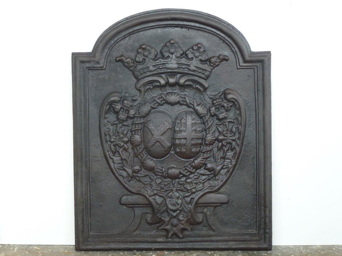 Plaque cheminée aux armes de Charles François de Broglie et de Louise Augustine de Montmorency (57x70 cm)