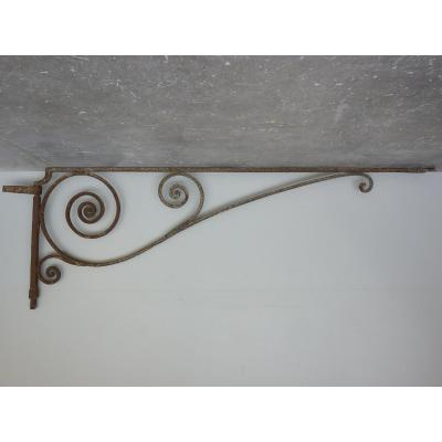 Potence ou bras de lumière en fer foré XVIIIème siècle