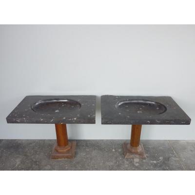 Paire de vasques ovïdes en pierre datant du XIIIéme siècle