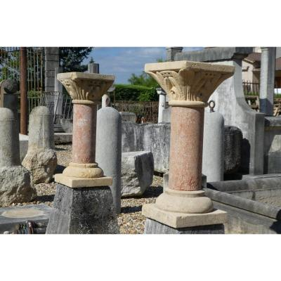 Pair Of Stone Columns Carved In The XIXth S.