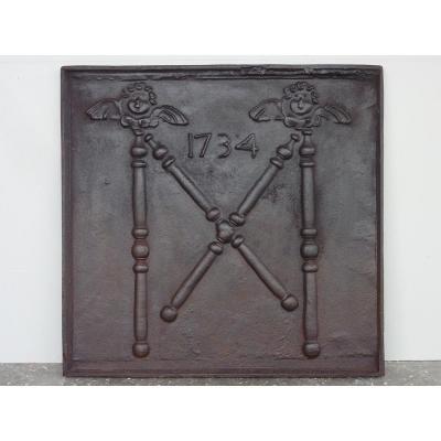 Plaque de cheminée reproduction  du XXéme S.   ( 79 x 76 cm )