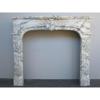 Arabescato Marble Fireplace Louis XIV Style