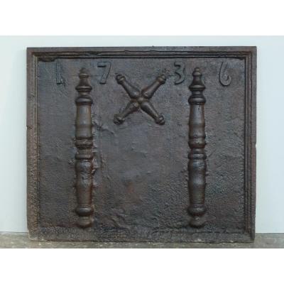 Plaque de cheminée datée 1736   ( 78 x 66 cm )