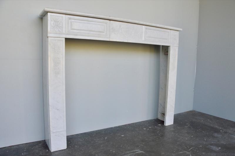 Cheminée marbre blanc d'époque Louis XVI-photo-2