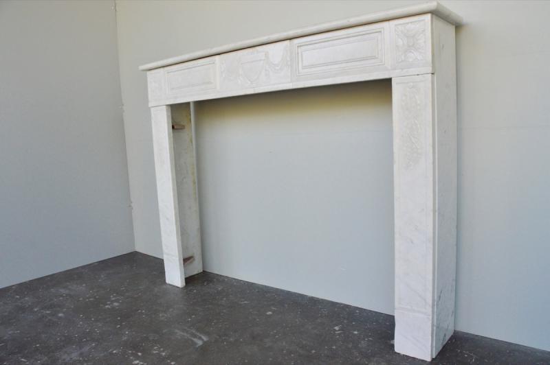 Cheminée marbre blanc d'époque Louis XVI-photo-3