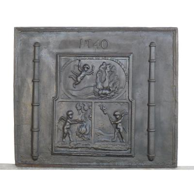 Fireplace Plate With Cherubs In Fire