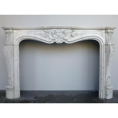 White Marble Fireplace From Carrara Louis XV.