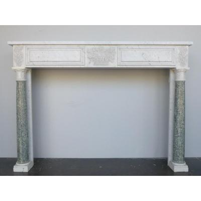 White Marble Fireplace With Detached Columns In Estours Green Marble