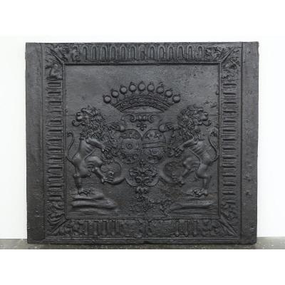 Fireplace Plate With Alliance Arms From Charles Hervé De Rarécourt And Jeanne Joeffroy