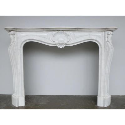Louis XV Style Carrara Marble Fireplace
