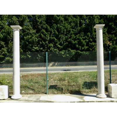 Pair Of Doric Style Composite Stone Columns