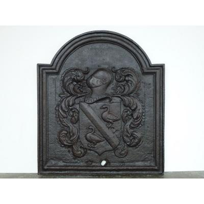 Fireplace Plate With Arms By Willem Tayen (84 X 94 Cm)