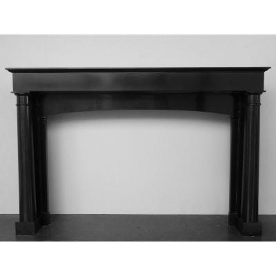 Fireplace In Fine Black Belgian Marble From The First Empire Period With Detached Columns