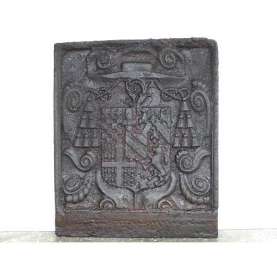 Fireplace Plate With The Arms Of François Dauvet-desmarets (65 X 79 Cm)