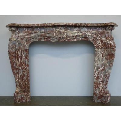 Regency Style Royal Red Flanders Marble Fireplace