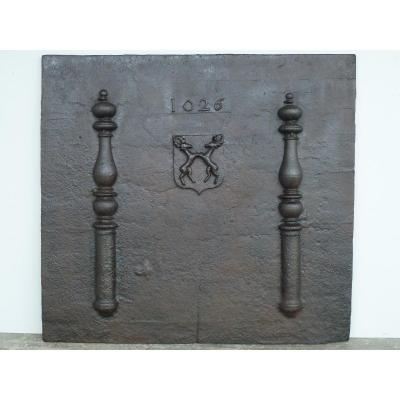 Important Fireplace Plate Dated 1626 (120 X 112 Cm)