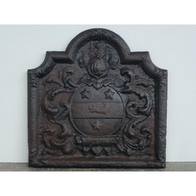 Plaque de cheminée aux armes de Gohory (65x 66 cm)