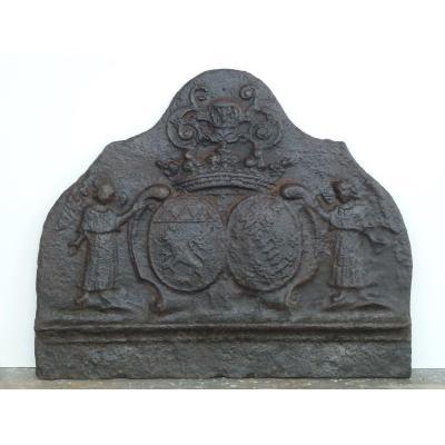 Fireplace Plate With The Arms Of Joseph De Préaux And Marie-henriette De Meaulne (59 X49 Cm)