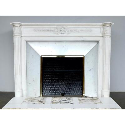 Louis XVI Style Fireplace In Statuary White Marble