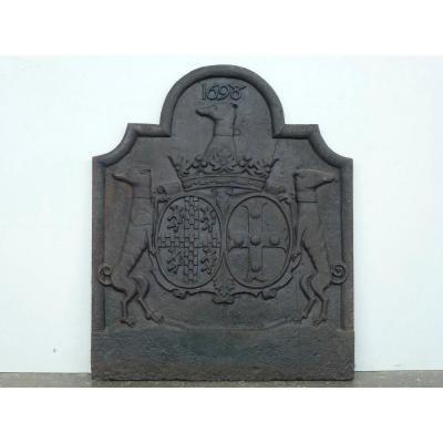Fireplace Plate With Alliance Arms By Adrien Du Bosc De Vitermont (77x93 Cm)