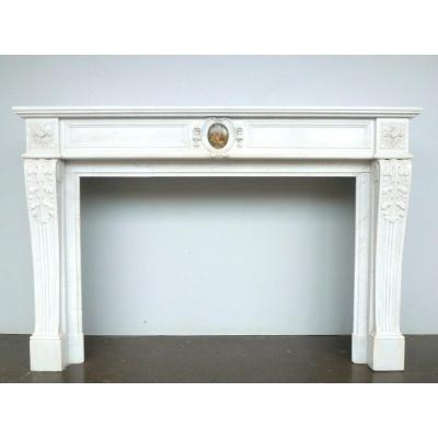 Louis XVI Style White Marble Fireplace Adorned With A Miniature