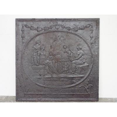 """Plaque de cheminée Louis XVI """"Avènement d'un nouveau monde"""" (94x96 cm)"""
