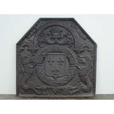 Fireplace Plate With Arms From France Dated 1600 (75x74 Cm)