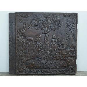 Rare Stove Plate Representative Adam And Eve In The Garden Of Eden (77x70 Cm)