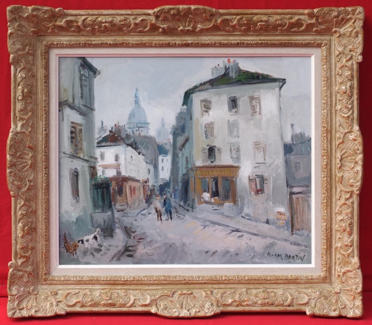 Bertin Roger (1915 - 2003) Paris Montmartre Lively Street Scene