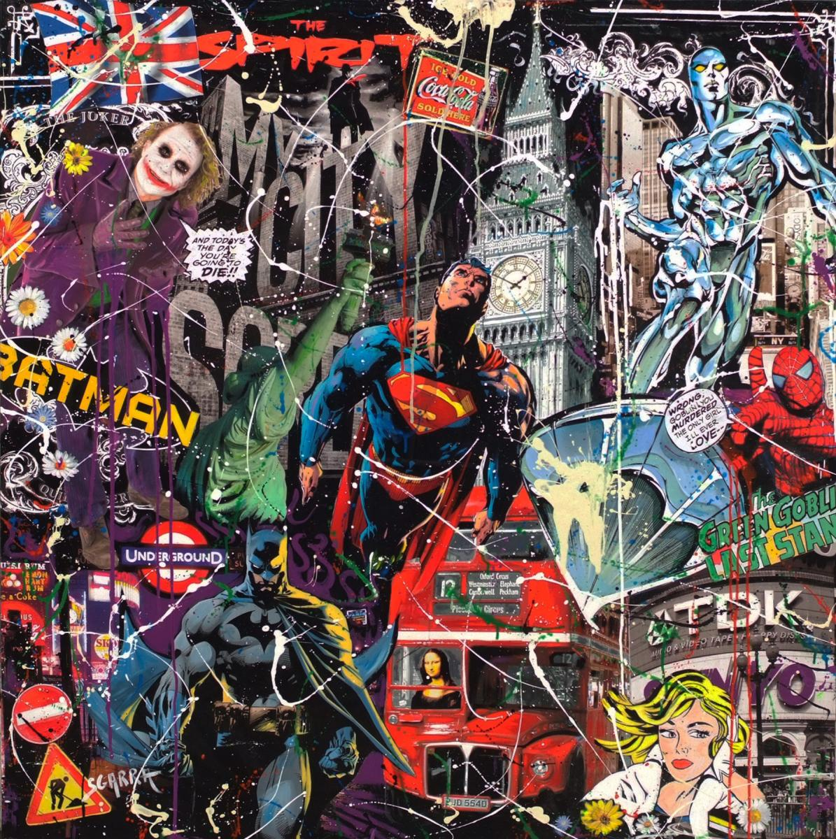 SGARRA Robert Comics Heroes In London Painting Circa 1990