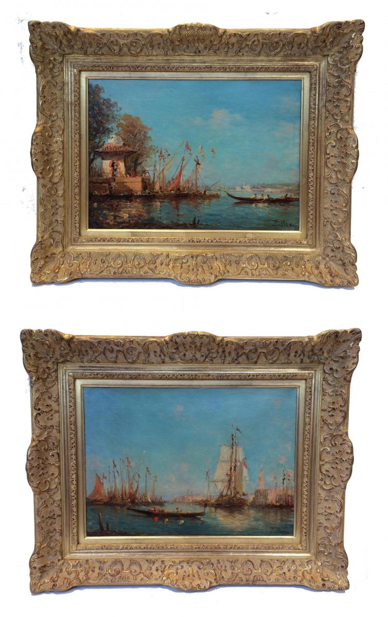 Leopold Ziller Views Of Venice And Istambul In Pair - 19th Century Paintings